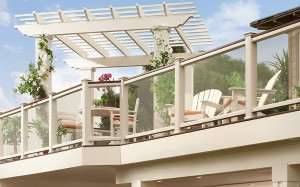 Trex Transcend Deck with Lava Rock railing and Pergola